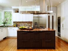 Contemporary Kitchen Remodel With Dark Wood Kitchen Island