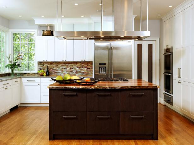 Contemporary Kitchen Remodel With Dark Wood Kitchen Island