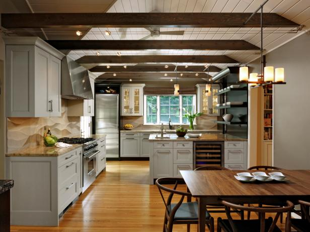 Neutral Transitional Kitchen With Exposed Ceiling Beams