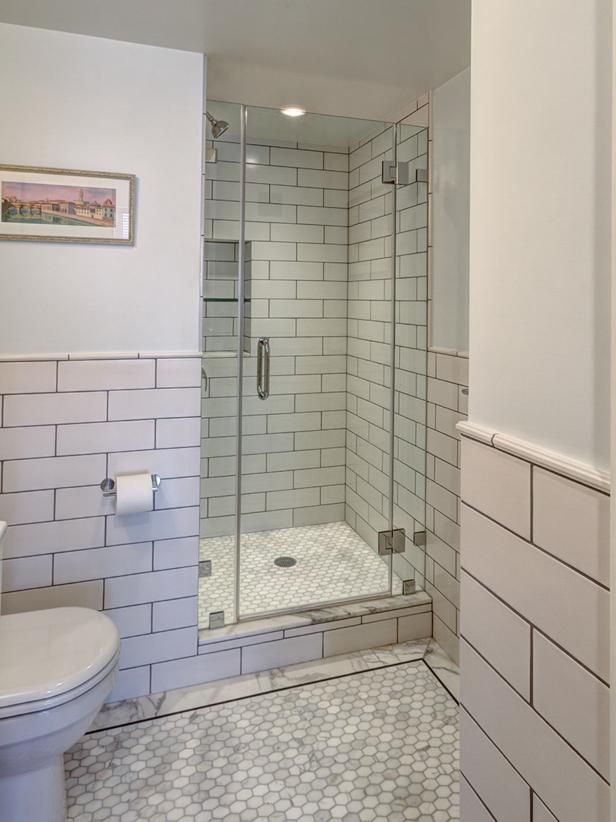 White Contemporary Bathroom with Subway Tile
