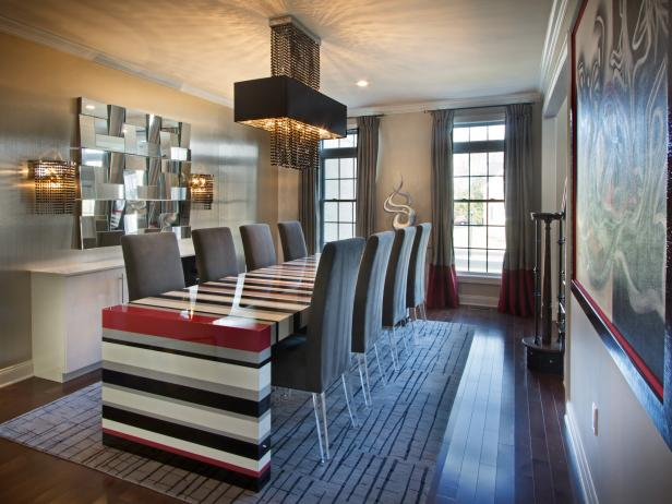 Striped Lacquered Table in a Contemporary Dining Room