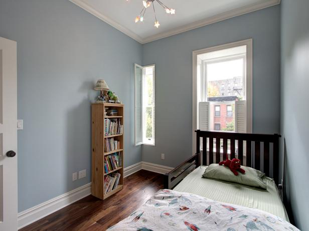 Transitional Blue Boy's Bedroom