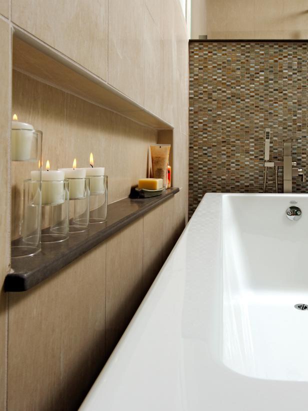 Bathtub with Neutral Tiled Backsplash