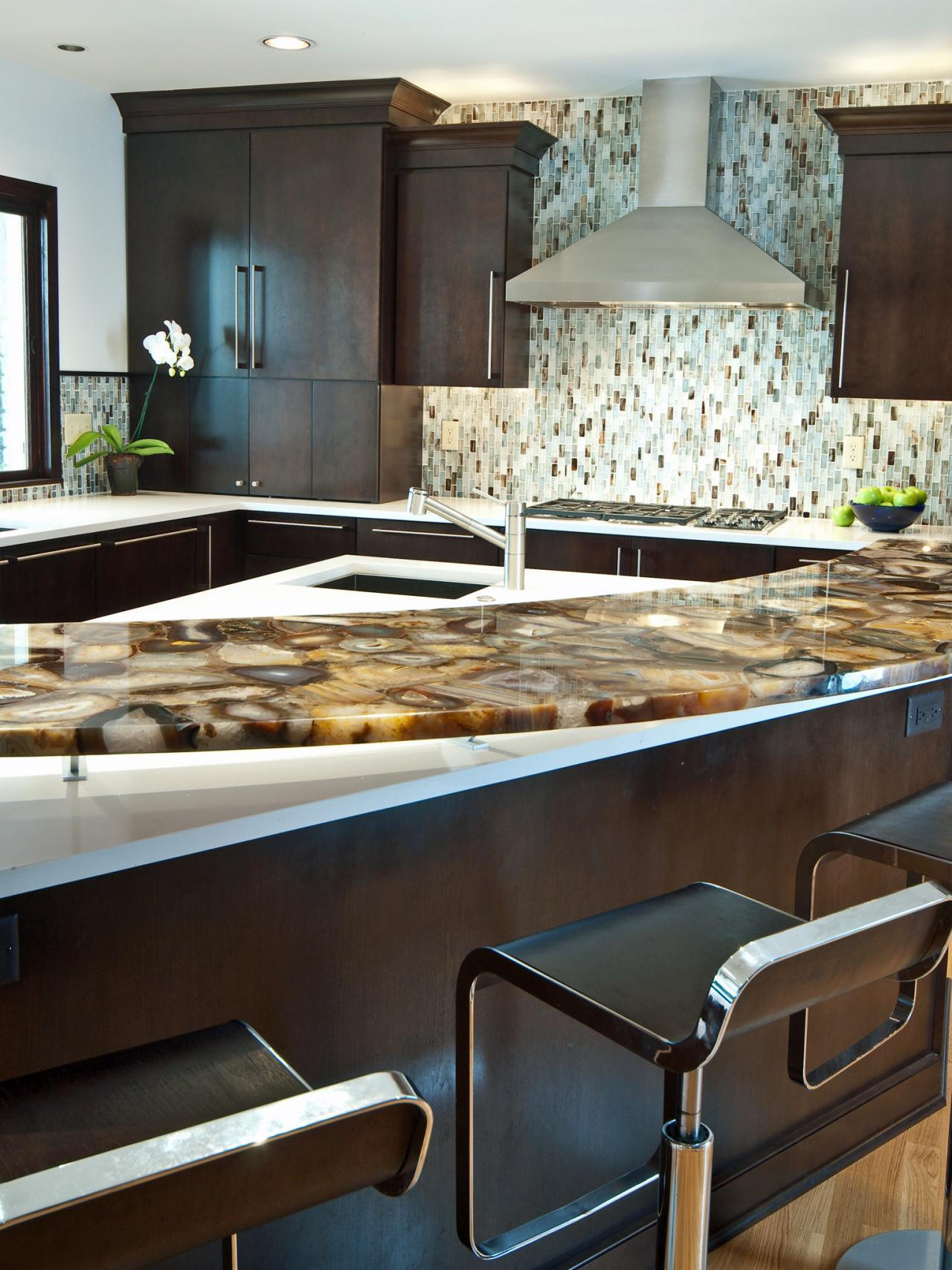 10 high end kitchen countertop choices kitchen ideas for Black onyx kitchen cabinets