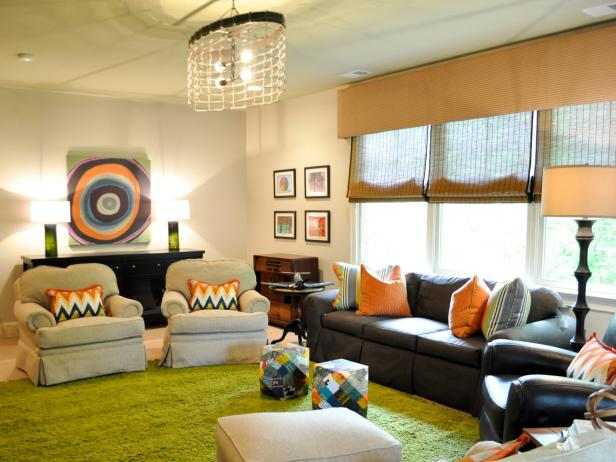 Mixed-Color Eclectic Playroom With Green Rug