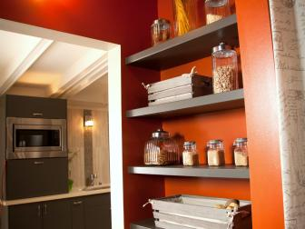 Wood Shelves in Laundry Room for Pantry and Storage
