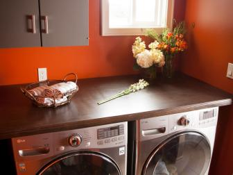 Laundry Room Wood Door Counter With Decorative Molding