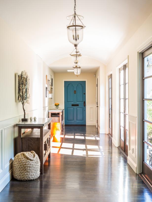 Blue Door in Neutral Hallway