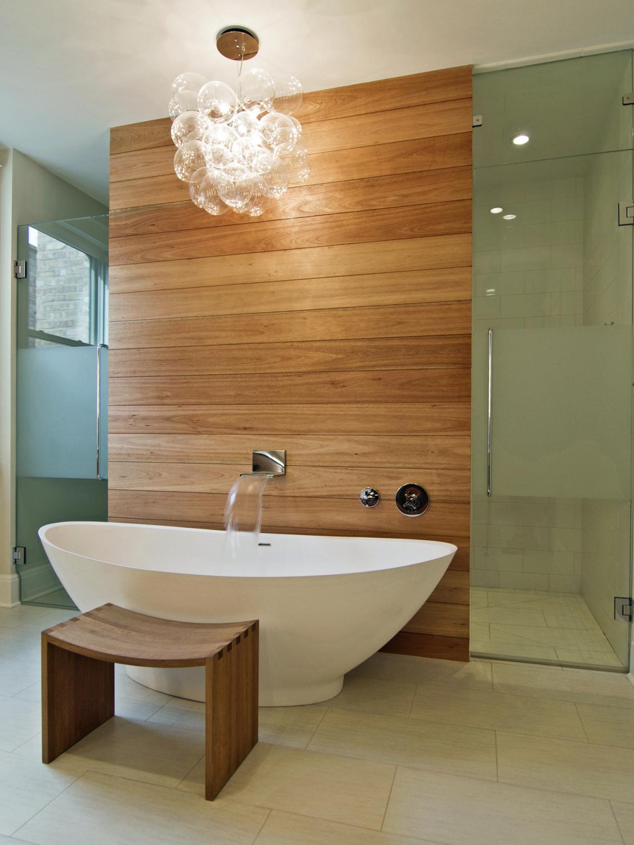 Contemporary Spa Bathroom With Freestanding Tub