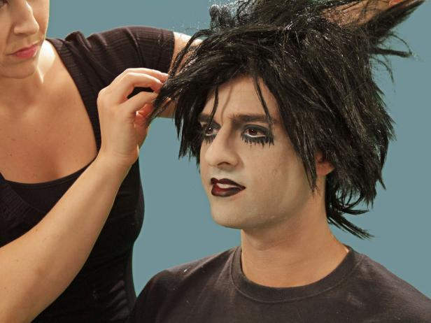 Add some rocker accessories, including a wig, to finish the goth rocker look.