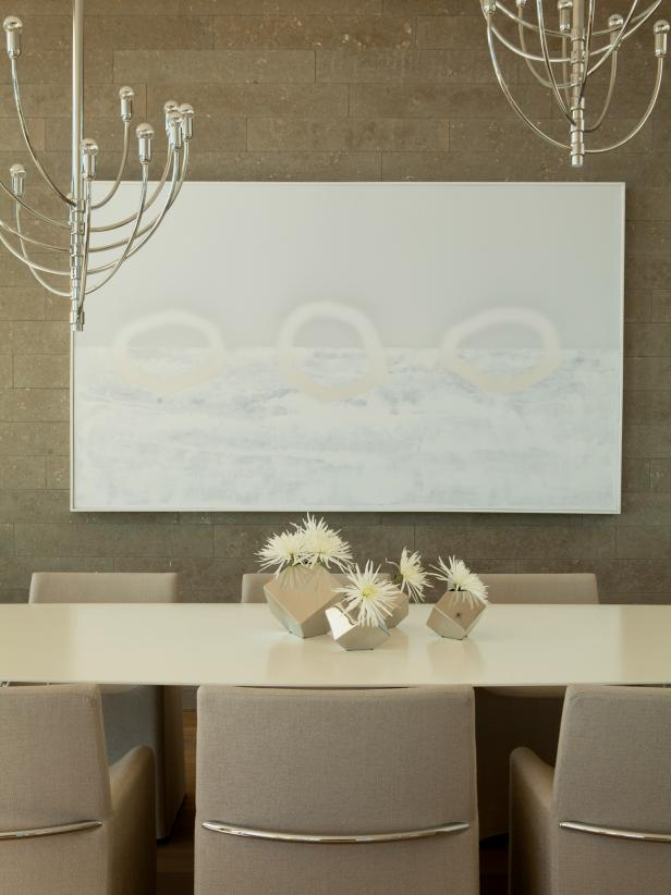 Modern dining room with painting