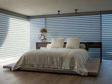 Shades for Modern Bedroom With Frameless Windows