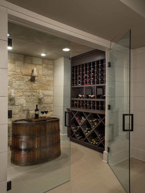 Wine Cellar With Frameless Glass Doors