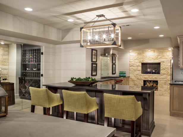 Sleek, Chic Kitchen Makes Most of Basement
