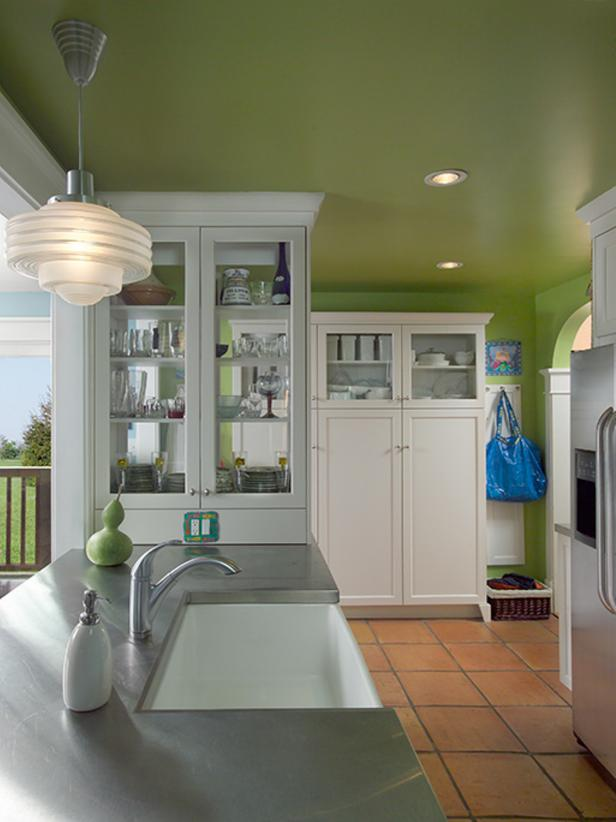Green Transitional Kitchen With White Cabinets