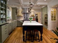Marble Island in Green Transitional Kitchen