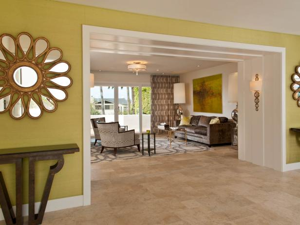 Living Room Entrance with Vibrant Yellow Walls