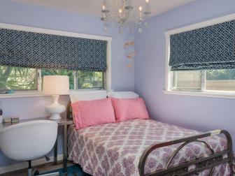 Purple Transitional Bedroom With Vintage Furnishings