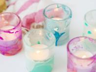 Use Nail Polish to Create Marbled Votives