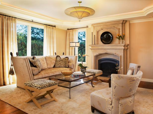 Transitional Living Room with Limestone Fireplace