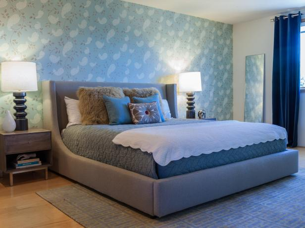 Blue Contemporary Bedroom With Upholstered Bed, Accent Wallpaper