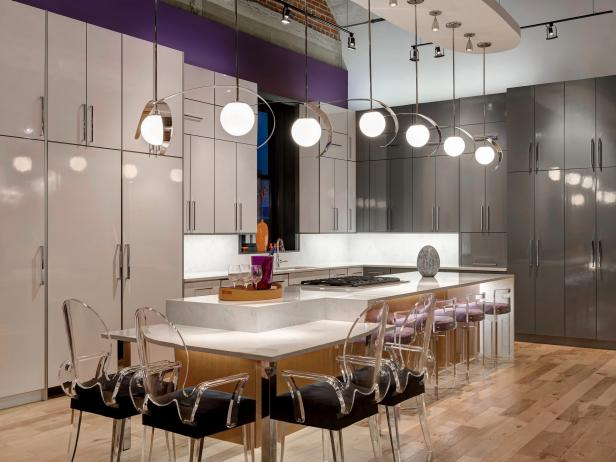 Modern Purple Kitchen With White & Gray Cabinets, & Transparent Chairs