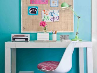White Modern Desk and Tulip Chair in Teen Study Nook