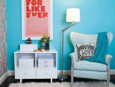 Turquoise Sitting Area With Blue Wingback Chair