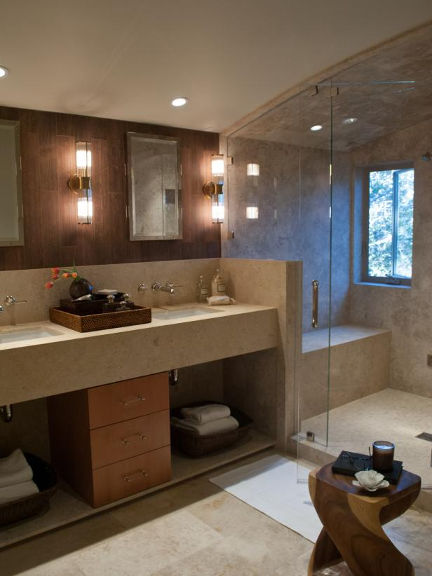 Neutral Bathroom With Double Vanity and Walk-In Shower