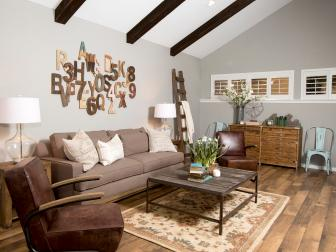 Farmhouse-style Living Room With Ceiling Beams