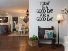 Gray Country Foyer With Custom Metal Wall Sign