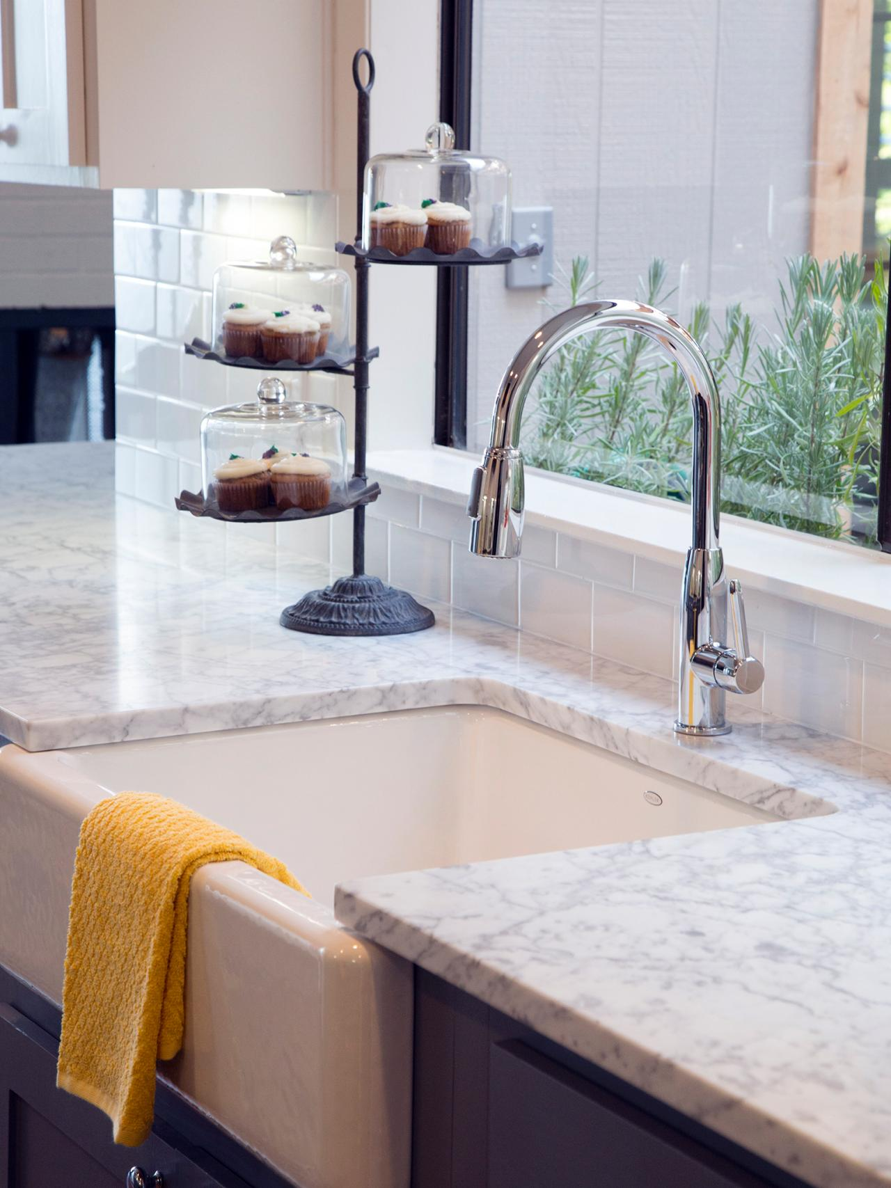 White Farmhouse Sink And Marble Countertops Hgtv