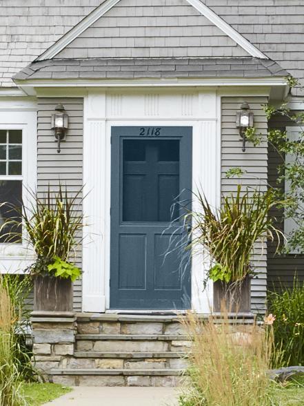 Double Doors, Square Planters + Porch Lights