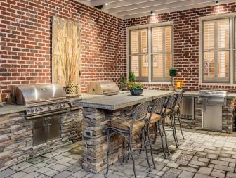 Contemporary Patio with Red Brick Walls