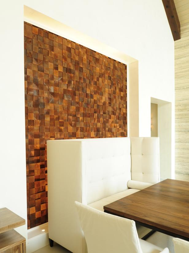 Contemporary Dining Room With Wood Tile Accent Wall