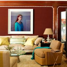 Contemporary Photography Adds Drama to Red Living Room