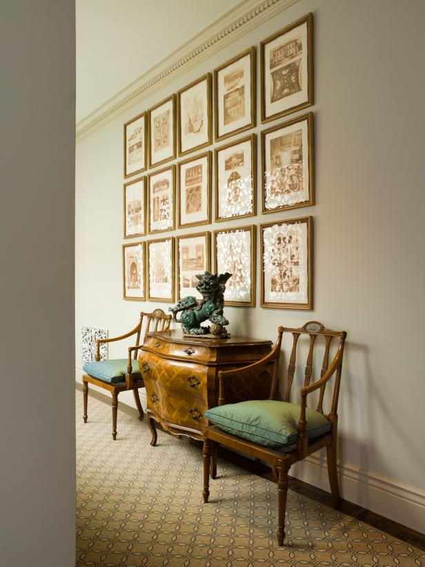 Hallway With Brown & White Art Prints, Wood Chairs and Wood Chest