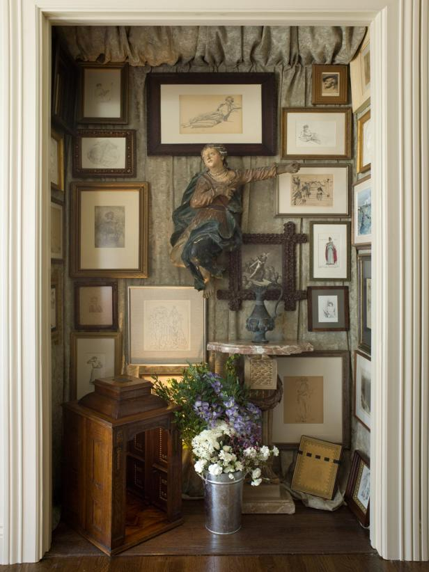 Framed Art Displayed in a Hallway Nook
