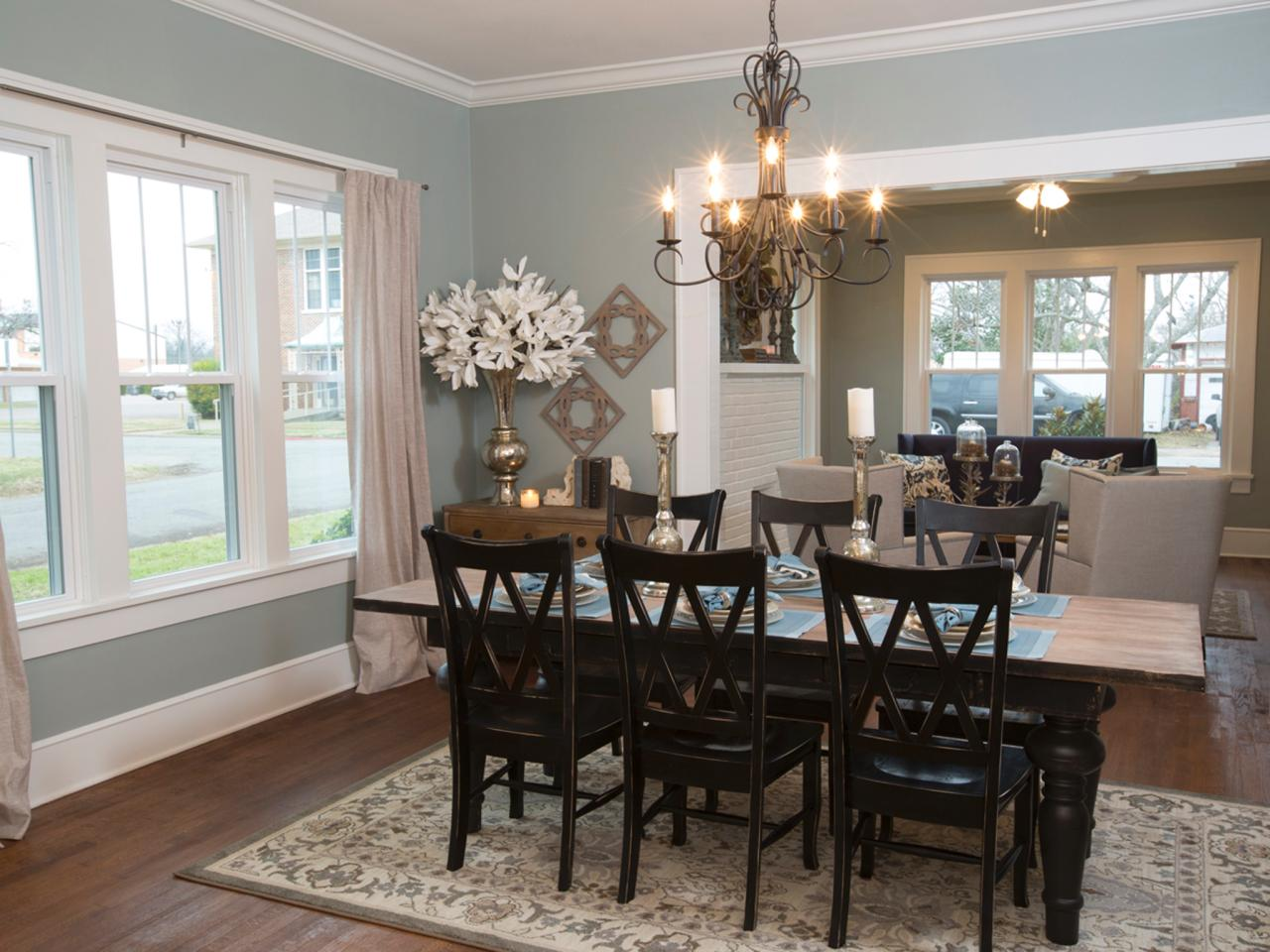 Blue Dining Room With Country Dining Table And Chairs Hgtv