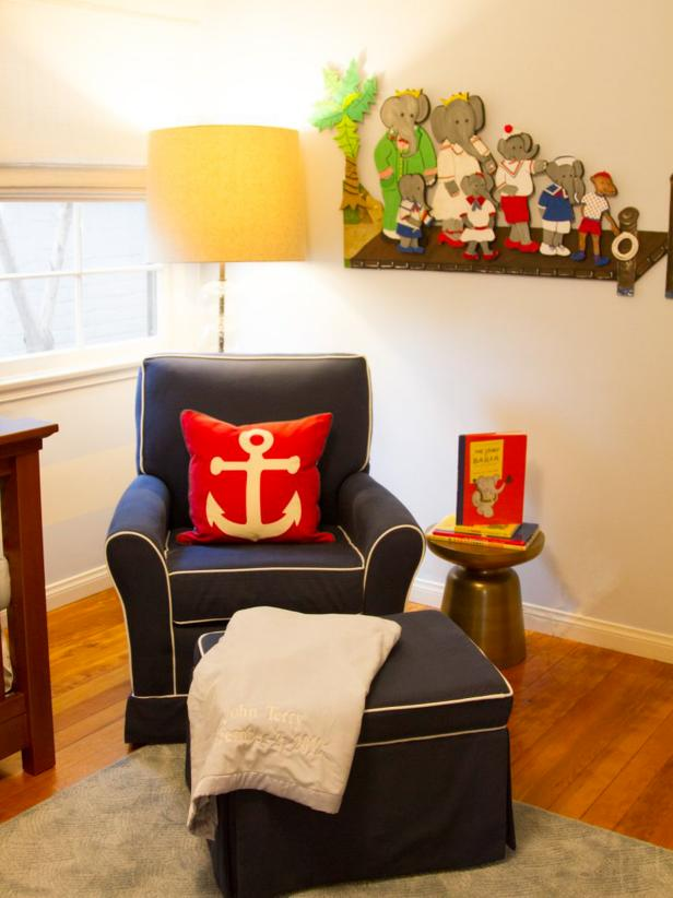 Nautical-Inspired Nursery With Blue Armchair