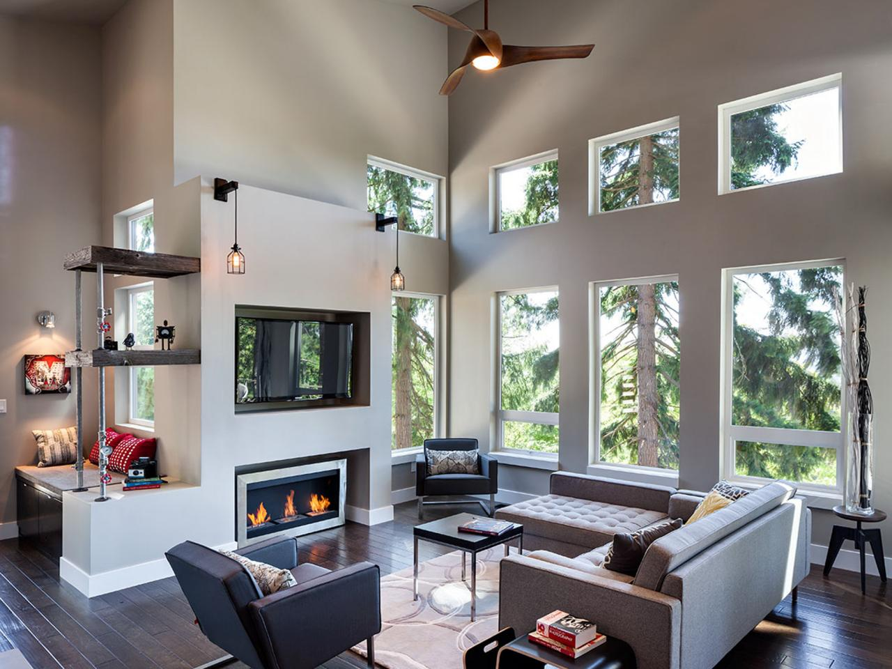 Hilltop modern industrial retreat jordan iverson hgtv Modern living room with fireplace