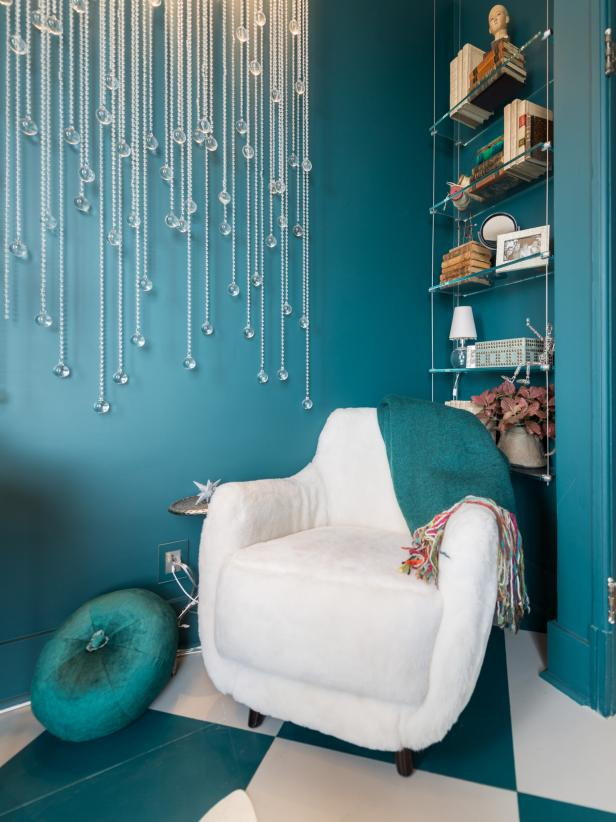 Contemporary Teal and White Home Office