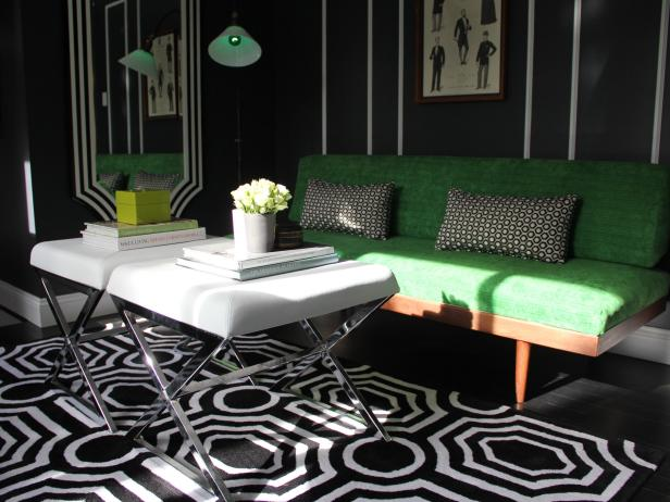 Contemporary Living Room With Green Settee and Patterned Rug