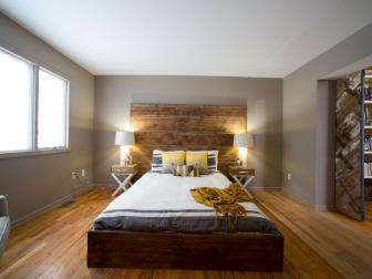 Contemporary Master Bedroom With Gold and Yellow Accents and Rustic Headboard