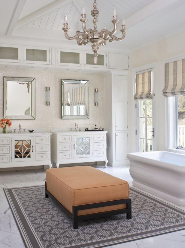 Transitional Master Bathroom With Chandelier and Seating Area