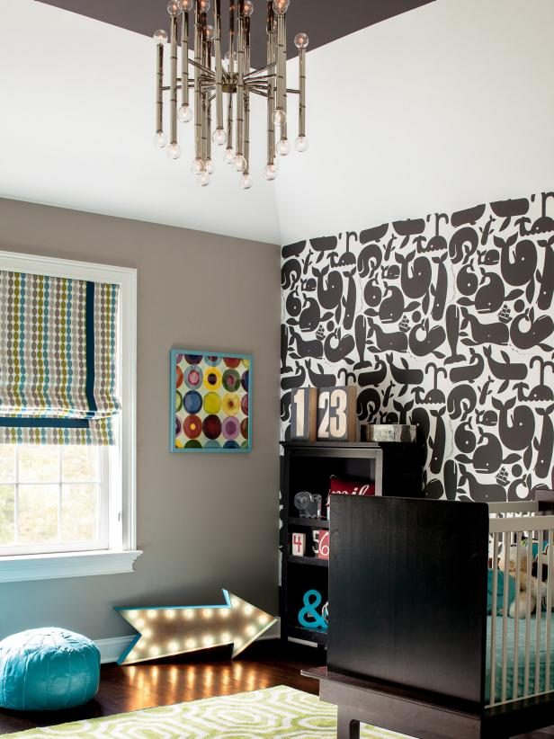 Midcentury Modern Nursery Baby Room With Whale Wallpaper