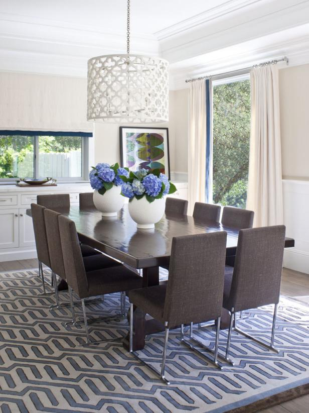 Transitional Dining Room With Blue and White Accents