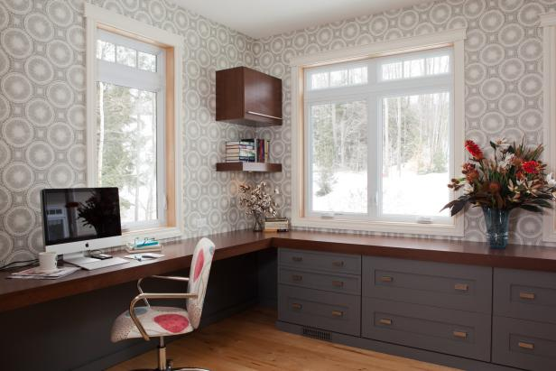 Home Office With Circular-Patterned Wallpaper