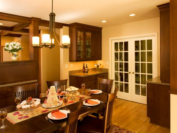 Brown transitional styled dining room.