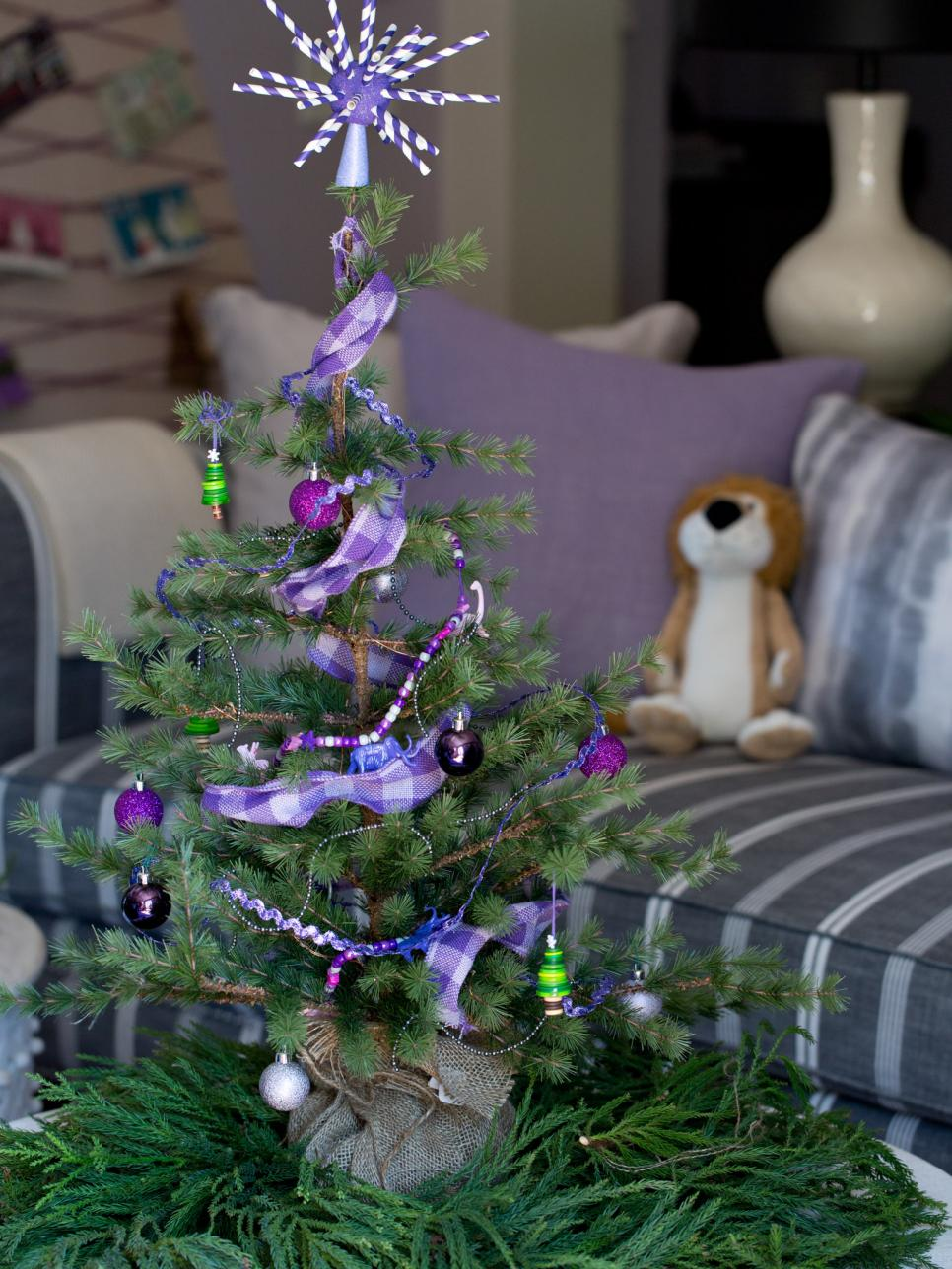 source an elegant purple small christmas tree